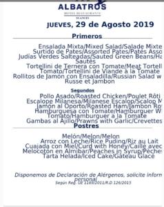 Menu del dia 29 de agosto en Hotel ARHA ALBATROS SUANCES